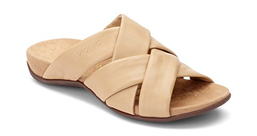 Vionic Women's Rest Juno Slide Sandal - Walking Sandals with Concealed Orthotic Arch Support Tan 6.5 M US
