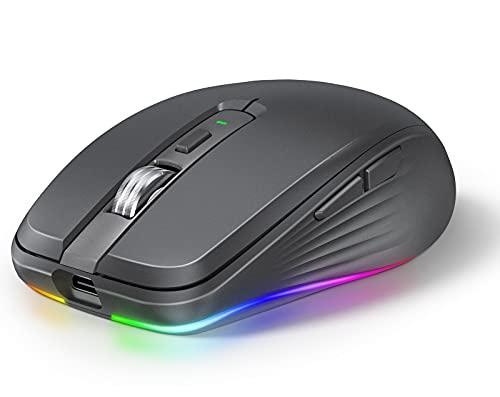 SROSSTEC Souris sans Fil, Rechargeable Souris Bluetooth,Deux Modes(BT 5.1+2.4G) LED Ergonomique Souris,2400DPI Défilement Magnétique Souris Gamer,Wireless Mouse pour PC/Tablet/Laptop(Noir Graphite)