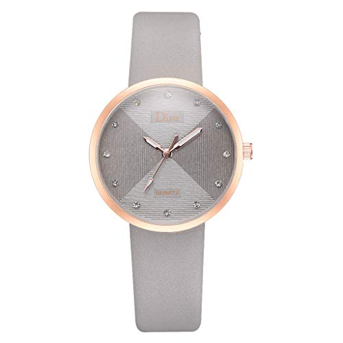 Best Gift For Woman!! Lankccok Fashion Casual Trend Color Matching Diamond Dial Belt Ladies Quartz Watch