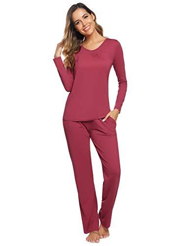 Abollria Pijamas Mujer Algodon Ropa de Domir Elegante Manga Pantalon Largos (XL, Rojo Ladrillo_3)