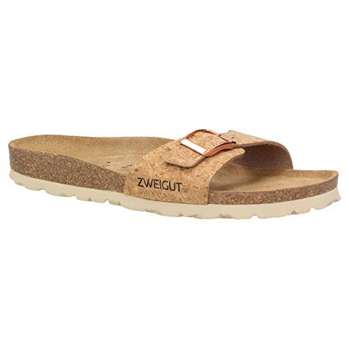 Zweigut® luftig #551 Damen 1- Riemen Sandalen Schuhe Sommer mit Soft Leder-Komfort-Fußbett, Schuhgröße:39, Farbe:Kork
