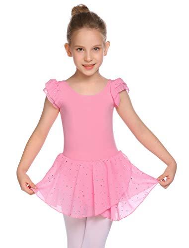 MAXMODA Vestido de ballet para niña, ropa de ballet, maillot de ballet, bonito y cómodo, traje de ballet con puntos de purpurina, vestido de danza para niños, para escenario, ocio, fiesta 130