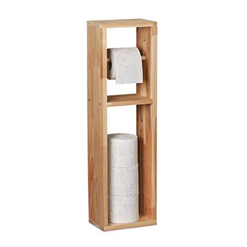 Relaxdays Toilettenpapierhalter, Walnuss Holz, zur Wandmontage oder stehend, Ersatzrollenhalter HxBxT 70x20x13 cm, natur