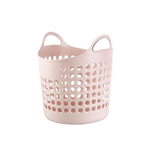 PE Kunststoff Wäschekörbe Hämmer Kleidung Spielzeug Vorratsbehälter Organizer Wäschebehälter mit Griffen (Color : Pink)