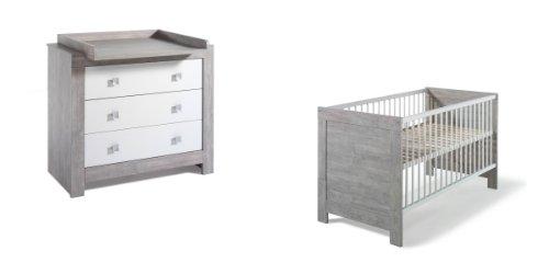 Schardt 107902200 Sparset Nordic Driftwood, Kombi-Kinderbett, 70 x 140 cm (inklusive Umbauseiten) und Wickelkommode mit Wickelaufsatz