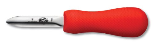 Victorinox 7.6399.3-X1 Oyster Knife 2-3/4-Inch Hooked Tip New Haven Style Blade, Red SuperGrip Handle