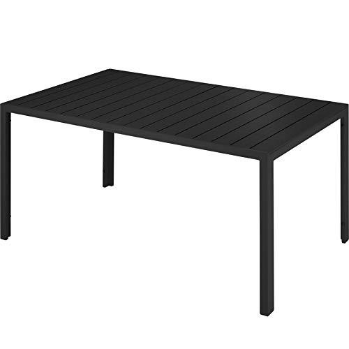 TecTake 800716 Gartentisch mit stabilem Aluminiumrahmen, Holzoptik, Zwei höhenverstellbare Füße, belastbare Tischoberfläche, pflegeleicht, 150 x 90 x 74,5 cm - Diverse Farben - (Schwarz | Nr. 403296)