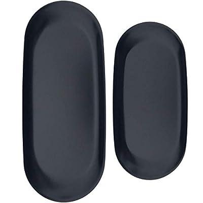 FREELOVE Stainless Steel Serving Tray, Bathroom Sink Vanity Trays Cosmetics Jewelry Organizer Towel Tray Tea Tray Decorative Tray(Black 1, Oval 7 inch / 9 inch)