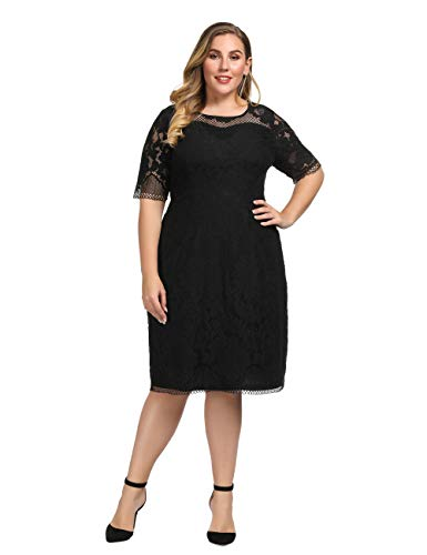 Chicwe Women's Plus Size Lined Floral Lace Dress - Knee Length Casual Party Cocktail Dress 3X Black