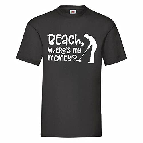 Beach Where's My Money Metal Detector T Shirt BlackXXL