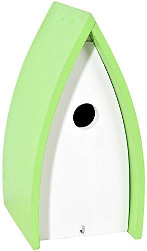 dobar 33930 Dekorativer weißer Nistkasten New Wave für Vögel, Vogelhaus mit grünem Dach, 16x18x31 cm, weiß-grün