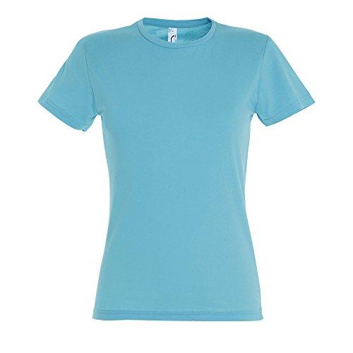 SOLS- Camiseta de Manga Corta Miss para Chica/Mujer (Grande (L)) (Azul Turquesa)