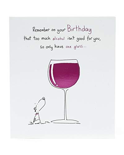 Geburtstagskarte – Lustige Geburtstagskarte – Geburtstagskarte für Freunde – Weinkarte zum Geburtstag – Hundekarte – Geschenkkarte für Sie – Geburtstagsgeschenk für Sie