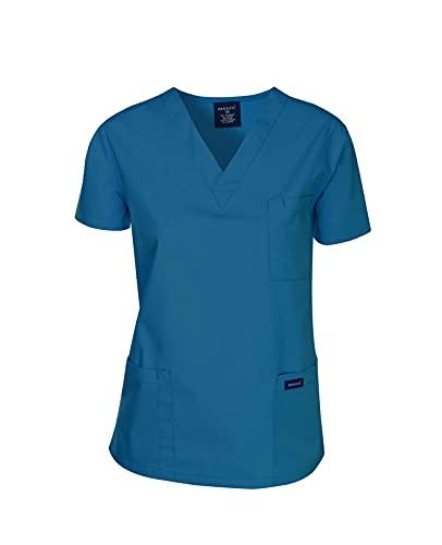 Dagacci Scrubs Medizinische Uniform Damen und Herren Scrubs Shirts Medical Scrubs Top - Blau - X-Klein