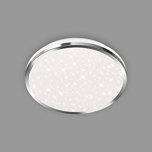 Briloner Leuchten - LED Deckenleuchte, Badleuchte, Badlampe inkl. Sternendekor, IP44, 12 Watt, 1.200 Lumen, 4.000 Kelvin, Chrom-Weiß, 280x70mm (DxH), 3403-018