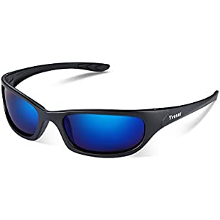 Yveser Polarised UV400 Sports Sunglasses for Men & Women - Baseball Running Cycling Fishing Driving Hiking Ski Golf Yv148 (Blue Lens/Black Matte Frame):Enlaweb