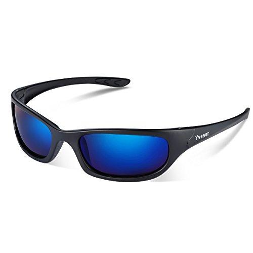 Yveser Hombre Gafas de sol deportivas polarizadas UV400 para béisbol, atletismo, ciclismo, pesca, esquí, excursionismo, golf Yv148 (Lentille Bleue/Cadre Noir Mat)