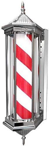 JIAO Lámpara De Poste De Barbero Escudo De Peluquería con Lámpara LED Barra De Barbero Rojo Blanco Rayas Azules Lámpara Giratoria De Pared Iluminada Tradicional
