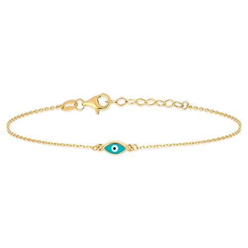 Gelin - Pulsera para mujer, diseño de ojo y amuleto contra el mal de ojos, oro amarillo 585 de 14 quilates, regalo para San Valentín, cumpleaños, Navidad