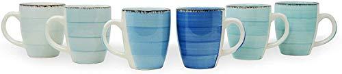 DRULINE 6er Set Kaffeetasse Kaffeepott Kaffeebecher Tassen Bürotasse Trinkbecher Becherset Mehrfarbig Kaffee Tee Milch Kakao Keramik Becher ca.250 ml (Ø x H) ca. 8,5 x 10 cm (Blautöne Kaffeebecher)