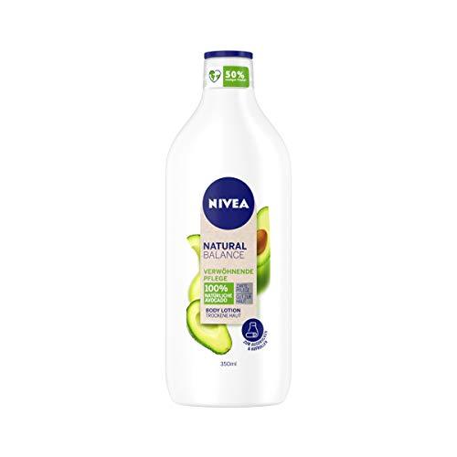 NIVEA Natural Balance Avocado Body Lotion (350 ml), Lotion mit 100 % natürlicher Avocado, Körpercreme spendet 48h intensive Feuchtigkeit