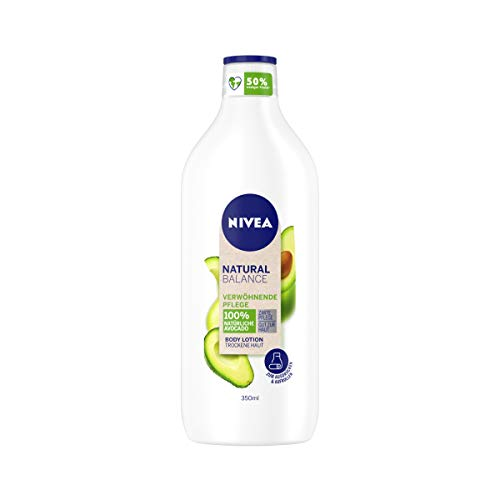 NIVEA Natural Balance Avocado Body Lotion (350 ml), Lotion mit 100 % natürlicher Avocado,...