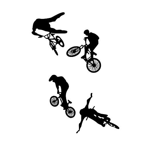 LZYMSZ Adesivo Murale Bici, 37.7*16.9'' Vinile per Mountain Bike Adesivo Murale, Sport Estremi Bicicletta Arte Silhouette Murale per Uomo, Bambini, Camera da Letto (4)