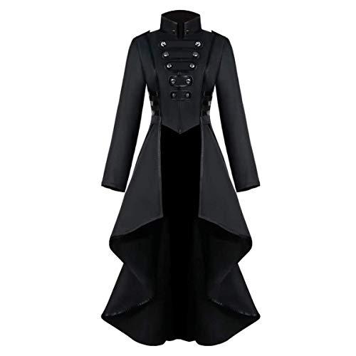 COCD Uomo Cappotto Steampunk Vintage Camicia Manica Lunga Collo Alto Colletto Giacca Gotico Vittoriano Giacce Medievale Costume Halloween Cosplay Carnival