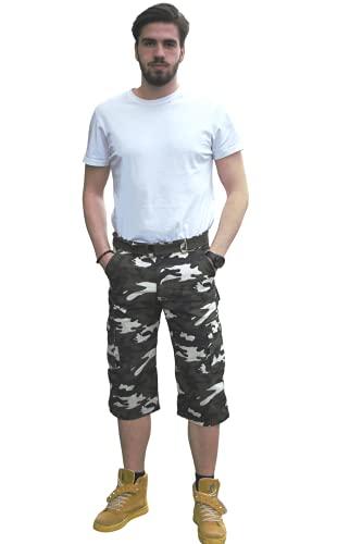 UrbanFit - Pantaloncini da uomo mimetici da combattimento a 3/4, con cintura in vita, pantaloni casual estivi, 100% cotone verde foresta, bianco, nero 52