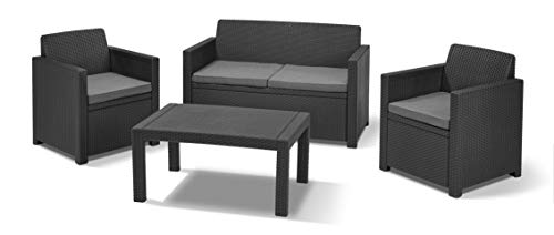 Allibert Merano Lounge Set, Graphite/cool Grey (Poly Cotton Cushion)