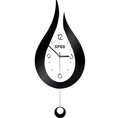 "XSZ Modern Design Large Silent Water Drop Wall Clock Battery Operated for Kitchen Office Living Room Bedroom Decorative (9.5"" W x 20.4"" L)"