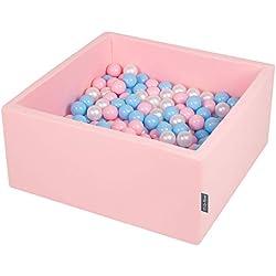KiddyMoon 90X40cm/300 Balles ∅ 7Cm Carré Piscine À Balles pour Bébé Fabriqué en UE, Rose:Baby Bleu/Rose Poudre/Perle