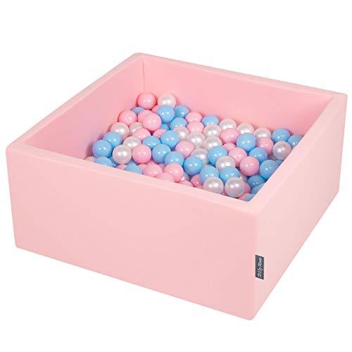 KiddyMoon 90X40cm/200 Balles ∅ 7Cm Carré Piscine À Balles pour Bébé Fabriqué en UE, Rose:Baby Bleu/Rose Poudre/Perle