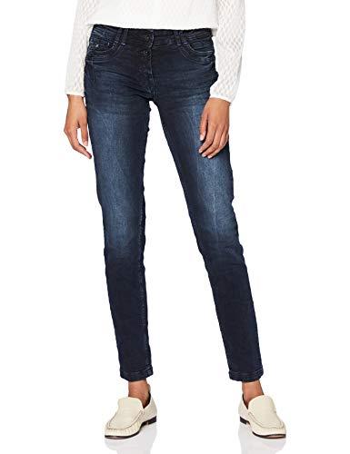Cecil Damen 373368 Style Scarlett Jeans, Blue/Black Used wash, W28/L32