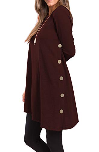 iGENJUN Women's Long Sleeve Scoop Neck Button Side Sweater Tunic Dress,L,Burgundy
