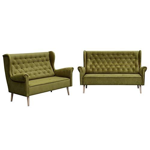 MOEBLO Polstergarnitur Ohrensofa 3 Sitzer 2 Sitzer Sofa Couch Garnitur Stoff Samt (Velour) Glamour Wohnlandschaft Chesterfield - Velo (Grün)