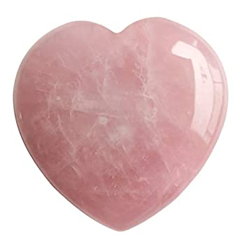 Loveliome Natural Rose Quartz Heart Love Chakra Stone,Polished Palm Crystals and Healing Stone  2.17 Inch