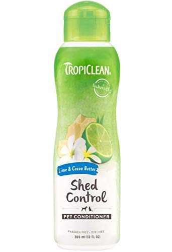 TropiClean Conditioner for Pets - Shed Control - Moisturises Skin & Coat - For Pets - Paraben & Dye Free - Environmentally-Safe, Cruelty-Free - Lime & Cocoa Butter (335 ml)