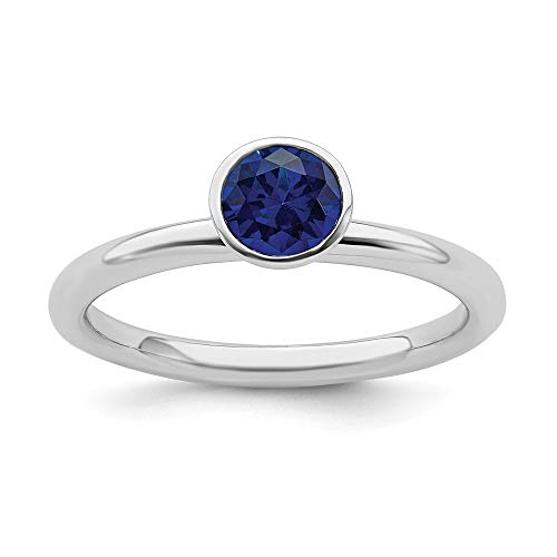 925 Sterling Silver High 5mm September Swarovski Band Ring Size 6.00 Stackable Birthstone Gemstone Created Sapphire Fine Jewelry For Women Gifts For Her