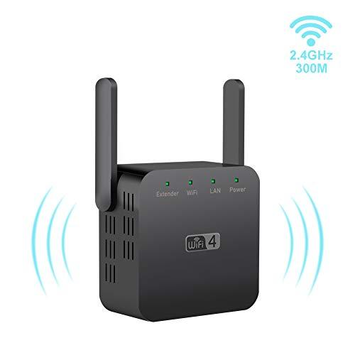 Greatzer WLAN Verstärker,Repeater 300Mbps WiFi Verstaerker 2,4GHz Wireless Signalverstärker Mini Extender mit 2 x Externe Antennen,LAN Port,Kompakt Thermisches Design,Kompatibel zu Allen WLAN Geräten