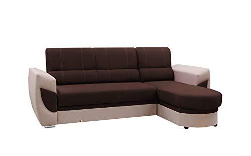 mb-moebel Ecksofa Sofa Eckcouch Couch mit Schlaffunktion und Bettkasten Ottomane L-Form Schlafsofa Bettsofa Polstergarnitur Timo (Braun, Ecsofa Rechts)