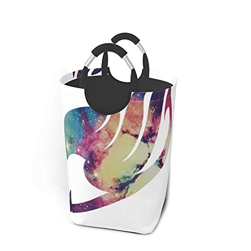 Galaxy Fairy Tail LogoDirty - Cesta de lavandería plegable impermeable para viajes, bolsa de lavandería, organizador de almacenamiento de 50 l, color negro