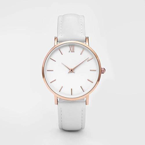 ZJZ Moda Semplice delle vigilanze delle Donne delle Signore della Donna Casuale del Quarzo del Cuoio Femminile Clock (Color : White)