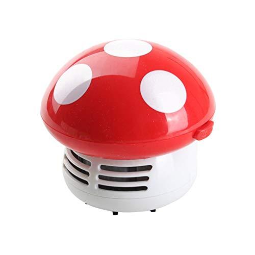 HermosaUKnight Mini Aspiradora Aspiradora de Polvo de Mesa de Escritorio de Esquina Mini Hongo Lindo (Rojo)