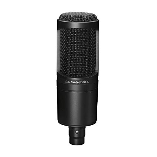 Audio-Technica AT2020 Cardioid Condenser Studio XLR Microphone, Black, Ideal for Project/Home Studio Applications