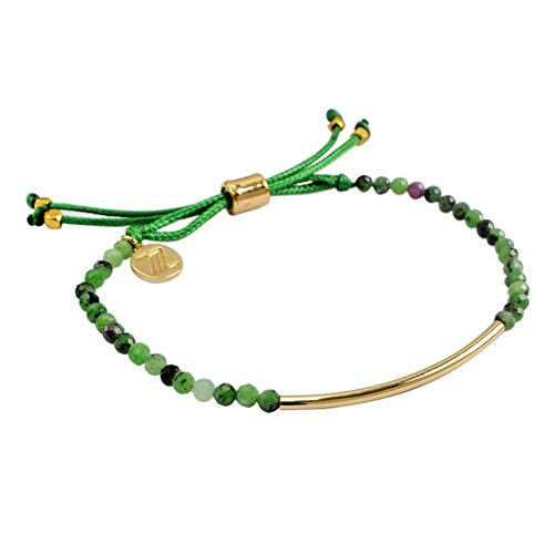 ZENGORI 1 Pcs 3mm Faceted Natural Ruby Zoisite Bead Bracelet Adjustable Handmade Jewelry ZBG0058