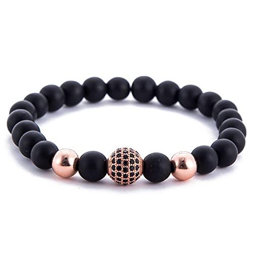 Pulsera de cuentas esmeriladas negras de 8 mm,pulseras con dijes de la suerte,equilibrio curativo,para mujeres,hombre,Yoga,meditación,cuentas de oración-A