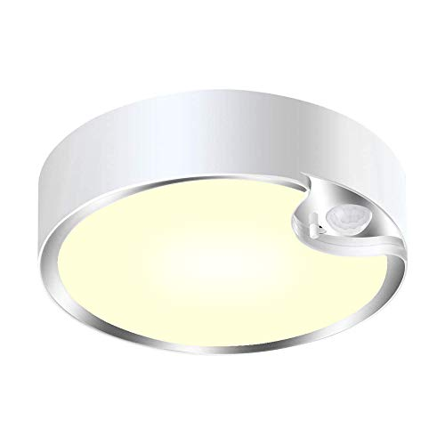LED Ceiling Light Motion Sensor 300lm LED Ceiling Lamp Easy Install Battery Operated for Stairs Bathroom Garage Home Hallway Hotel Indoor Outdoor -Warm White