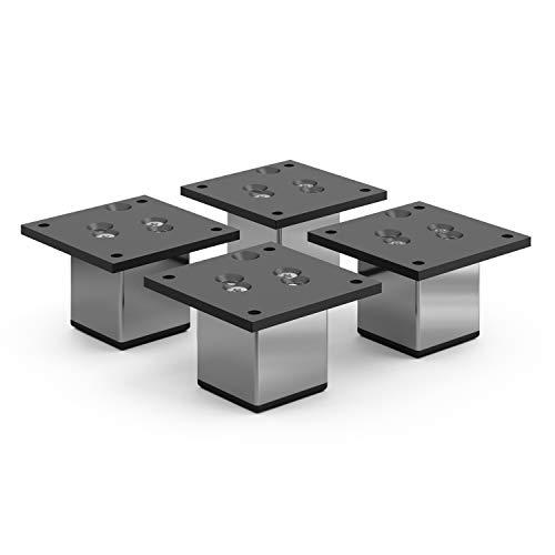 sossai® Exklusiv - Aluminium Möbelfüße   E4MF-N   4er Set   Höhe: 60mm   Farbe: Chrom