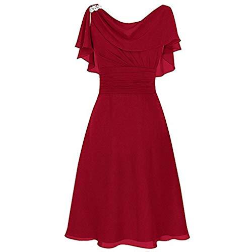 HIRIRI Women's Off Shoulder Chiffon Bridesmaid Dress Boho Tulle Long Wedding High Waist Party Cocktail Dress Red
